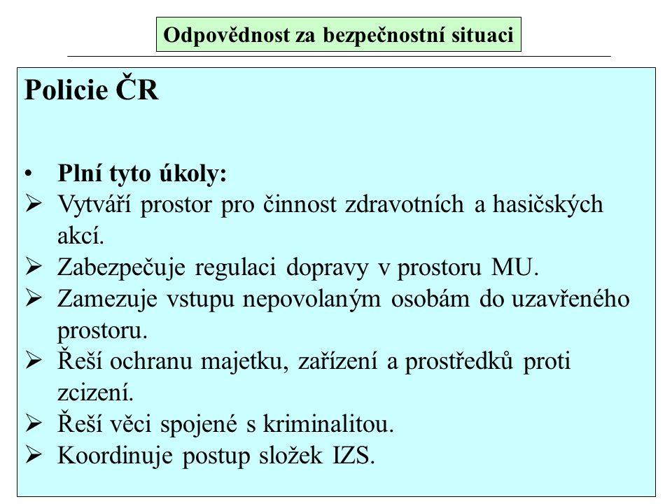 Policie ČR Plní tyto úkoly:  Vytváří prostor pro činnost zdravotních a hasičských akcí.  Zabezpečuje regulaci dopravy v prostoru MU.  Zamezuje vstu