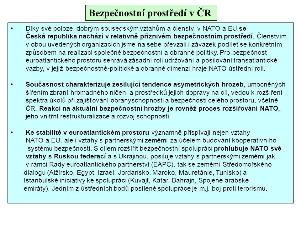 Bezpečnostní prostředí v ČR Díky své poloze, dobrým sousedským vztahům a členství v NATO a EU se Česká republika nachází v relativně příznivém bezpečn