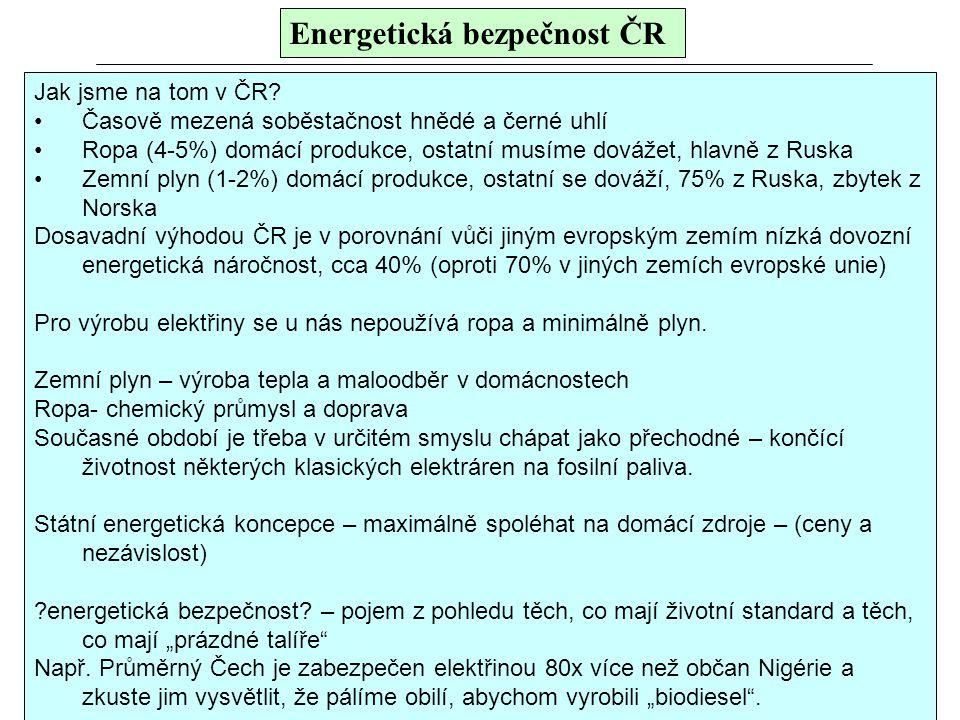 Energetická bezpečnost ČR Jak jsme na tom v ČR? Časově mezená soběstačnost hnědé a černé uhlí Ropa (4-5%) domácí produkce, ostatní musíme dovážet, hla