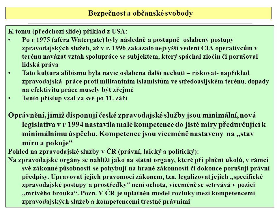 Bezpečnost a občanské svobody K tomu (předchozí slide) příklad z USA: Po r 1975 (aféra Watergate) byly následně a postupně oslabeny postupy zpravodajských služeb, až v r.