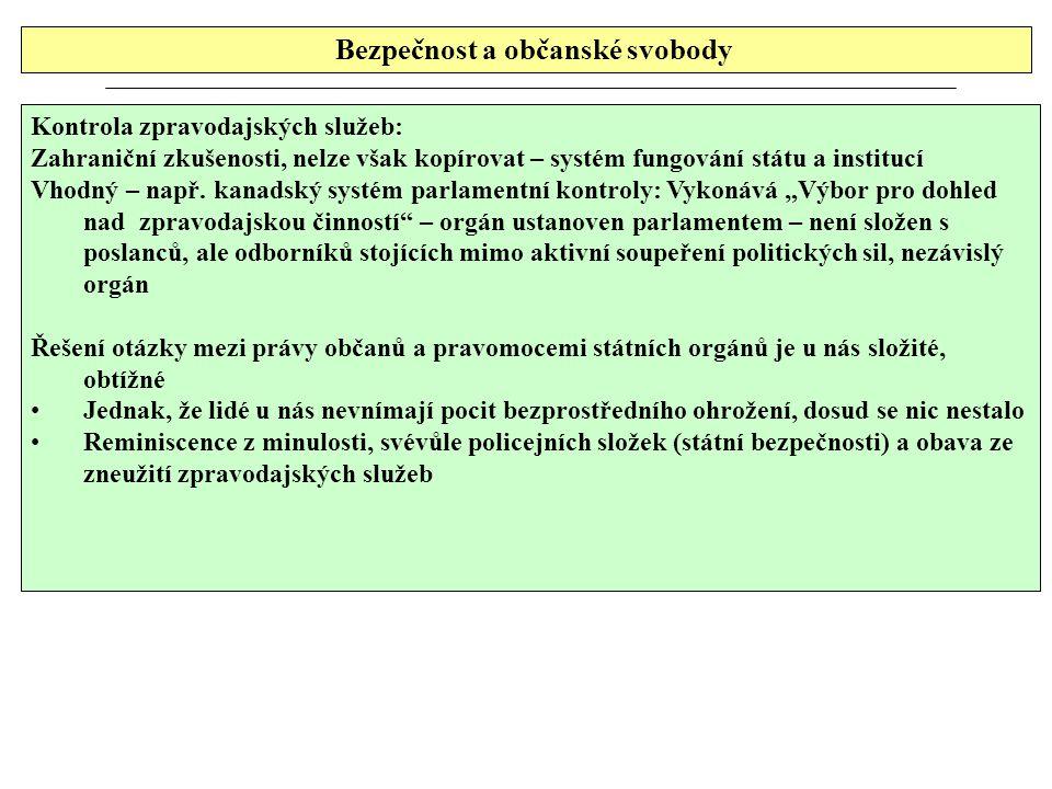 Bezpečnost a občanské svobody Kontrola zpravodajských služeb: Zahraniční zkušenosti, nelze však kopírovat – systém fungování státu a institucí Vhodný – např.