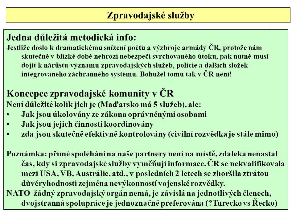 Zpravodajské služby Jedna důležitá metodická info: Jestliže došlo k dramatickému snížení počtů a výzbroje armády ČR, protože nám skutečně v blízké době nehrozí nebezpečí svrchovaného útoku, pak nutně musí dojít k nárůstu významu zpravodajských služeb, policie a dalších složek integrovaného záchranného systému.