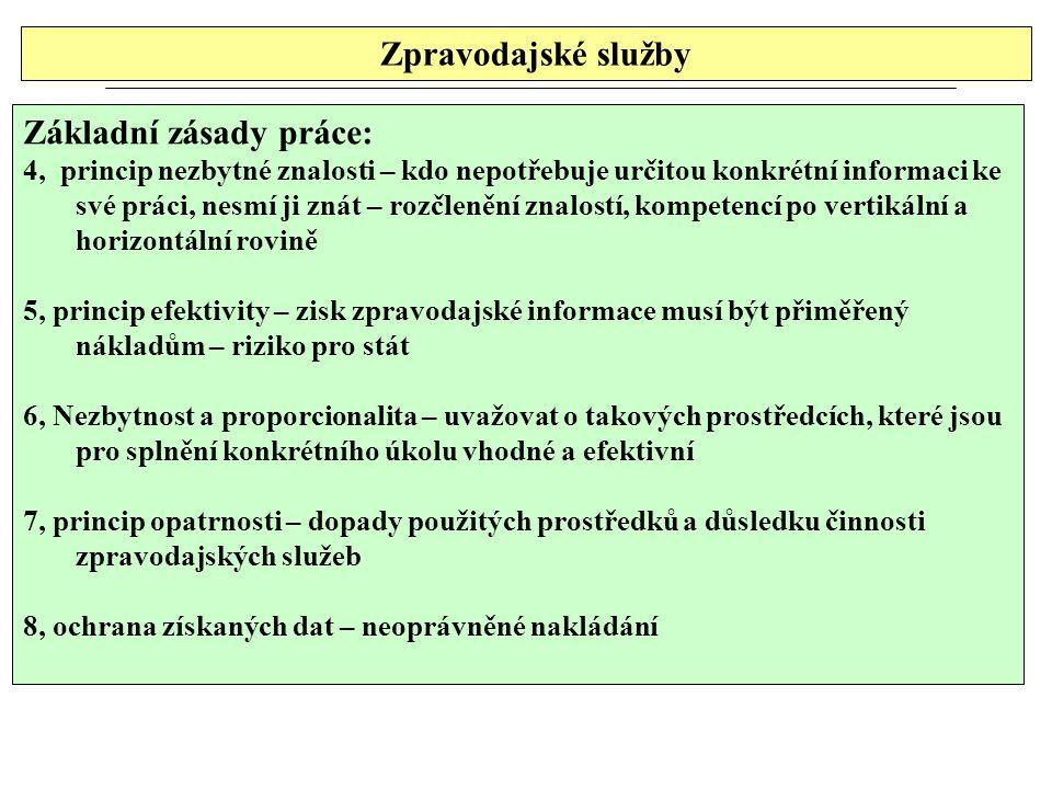 Zpravodajské služby Základní zásady práce: 4, princip nezbytné znalosti – kdo nepotřebuje určitou konkrétní informaci ke své práci, nesmí ji znát – rozčlenění znalostí, kompetencí po vertikální a horizontální rovině 5, princip efektivity – zisk zpravodajské informace musí být přiměřený nákladům – riziko pro stát 6, Nezbytnost a proporcionalita – uvažovat o takových prostředcích, které jsou pro splnění konkrétního úkolu vhodné a efektivní 7, princip opatrnosti – dopady použitých prostředků a důsledku činnosti zpravodajských služeb 8, ochrana získaných dat – neoprávněné nakládání