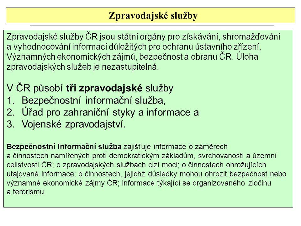 Zpravodajské služby Zpravodajské služby ČR jsou státní orgány pro získávání, shromažďování a vyhodnocování informací důležitých pro ochranu ústavního zřízení, Významných ekonomických zájmů, bezpečnost a obranu ČR.