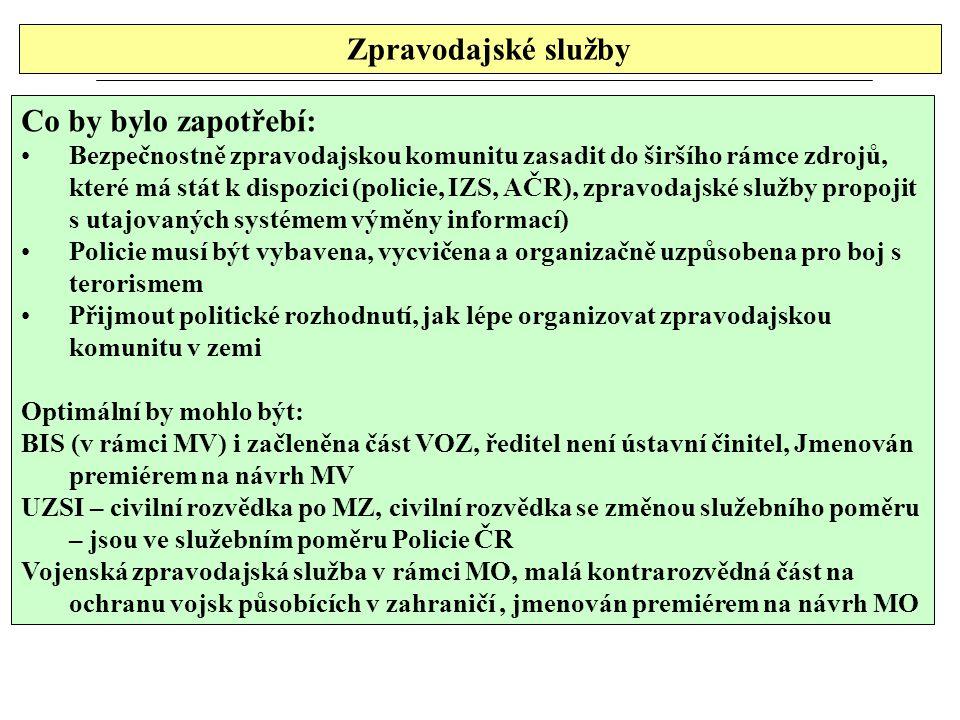 Zpravodajské služby Co by bylo zapotřebí: Bezpečnostně zpravodajskou komunitu zasadit do širšího rámce zdrojů, které má stát k dispozici (policie, IZS, AČR), zpravodajské služby propojit s utajovaných systémem výměny informací) Policie musí být vybavena, vycvičena a organizačně uzpůsobena pro boj s terorismem Přijmout politické rozhodnutí, jak lépe organizovat zpravodajskou komunitu v zemi Optimální by mohlo být: BIS (v rámci MV) i začleněna část VOZ, ředitel není ústavní činitel, Jmenován premiérem na návrh MV UZSI – civilní rozvědka po MZ, civilní rozvědka se změnou služebního poměru – jsou ve služebním poměru Policie ČR Vojenská zpravodajská služba v rámci MO, malá kontrarozvědná část na ochranu vojsk působících v zahraničí, jmenován premiérem na návrh MO