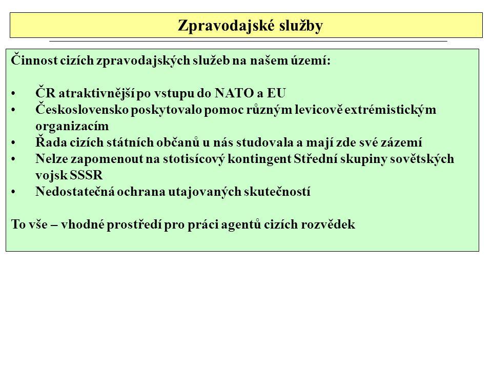 Zpravodajské služby Činnost cizích zpravodajských služeb na našem území: ČR atraktivnější po vstupu do NATO a EU Československo poskytovalo pomoc různ
