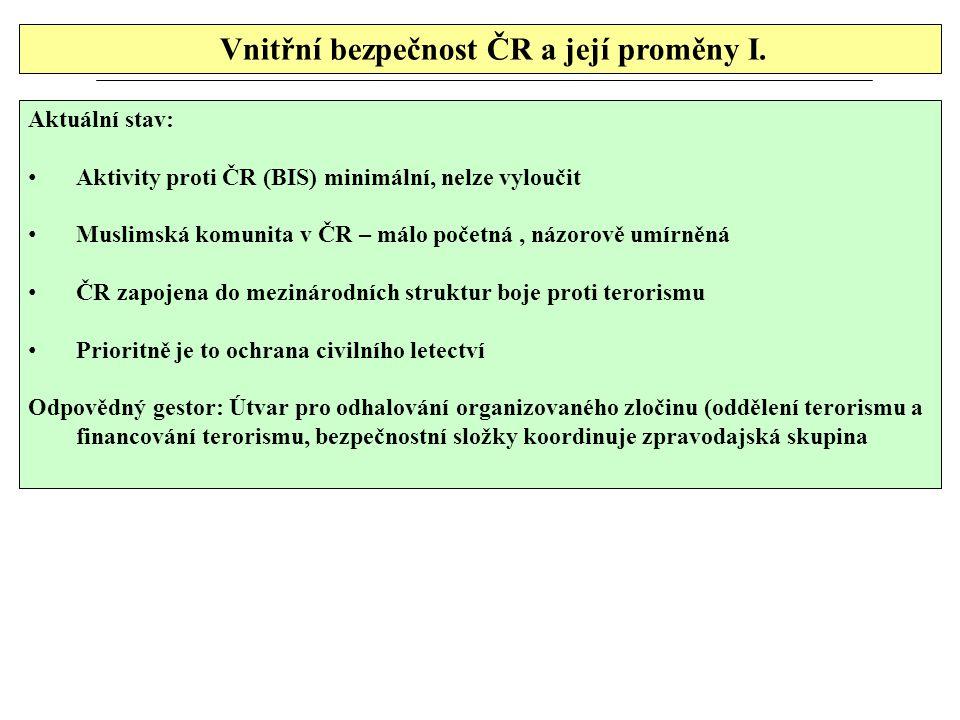 Vnitřní bezpečnost ČR a její proměny I. Aktuální stav: Aktivity proti ČR (BIS) minimální, nelze vyloučit Muslimská komunita v ČR – málo početná, názor