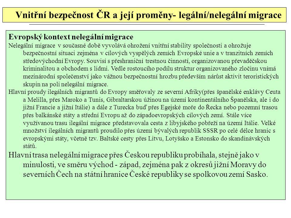 Vnitřní bezpečnost ČR a její proměny- legální/nelegální migrace Evropský kontext nelegální migrace Nelegální migrace v současné době vyvolává ohrožení