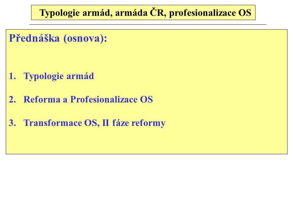 Typologie armád, armáda ČR, profesionalizace OS Přednáška (osnova): 1.Typologie armád 2.Reforma a Profesionalizace OS 3.Transformace OS, II fáze refor