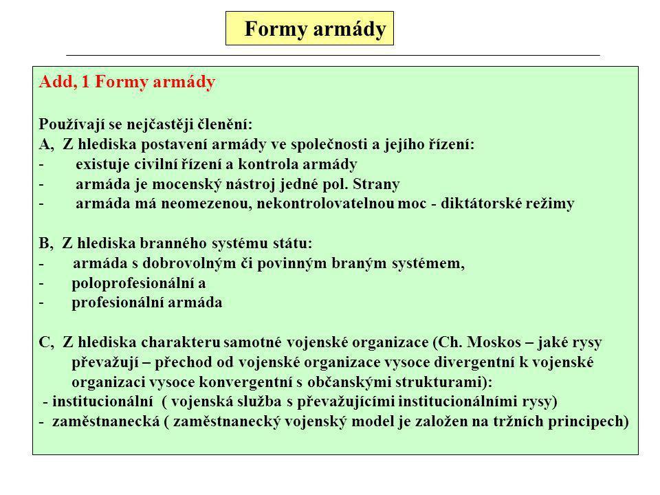Formy armády Add, 1 Formy armády Používají se nejčastěji členění: A, Z hlediska postavení armády ve společnosti a jejího řízení: - existuje civilní řízení a kontrola armády - armáda je mocenský nástroj jedné pol.