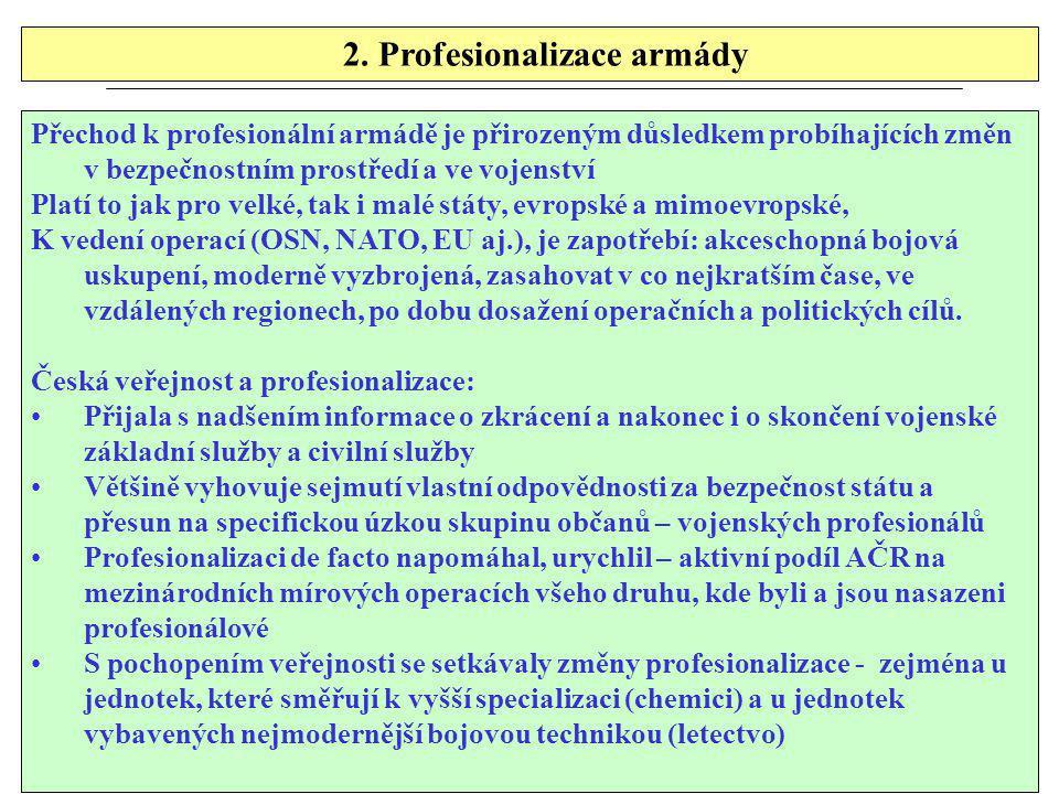 2. Profesionalizace armády Přechod k profesionální armádě je přirozeným důsledkem probíhajících změn v bezpečnostním prostředí a ve vojenství Platí to