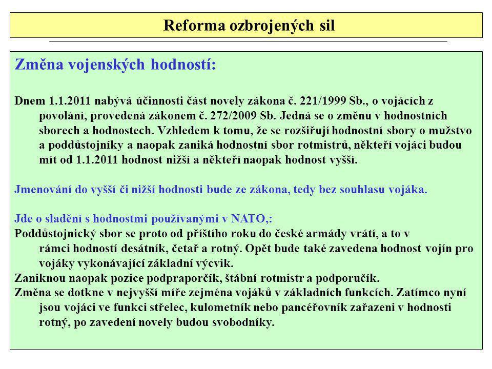 Reforma ozbrojených sil Změna vojenských hodností: Dnem 1.1.2011 nabývá účinnosti část novely zákona č. 221/1999 Sb., o vojácích z povolání, provedená