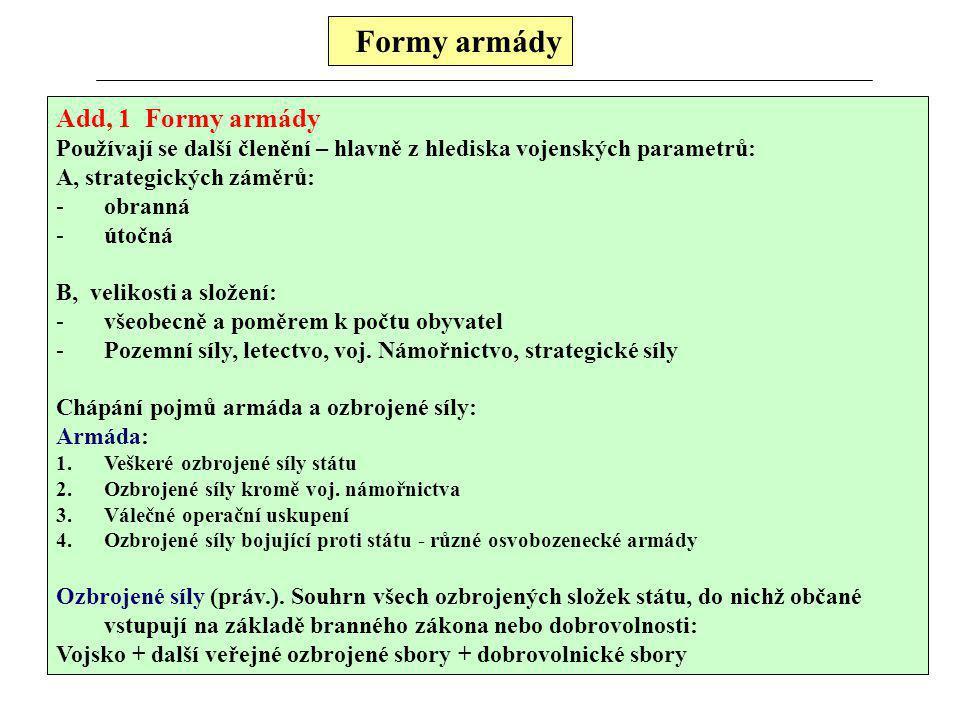 Formy armády Add, 1 Formy armády Používají se další členění – hlavně z hlediska vojenských parametrů: A, strategických záměrů: -obranná -útočná B, vel