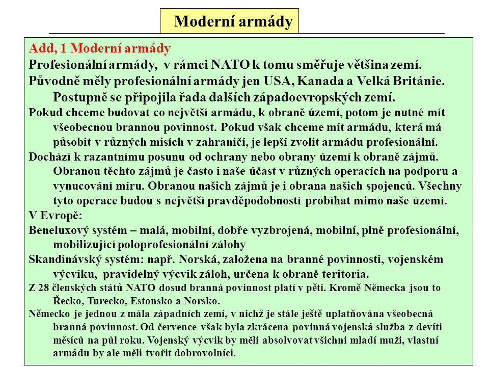 Moderní armády Add, 1 Moderní armády Profesionální armády, v rámci NATO k tomu směřuje většina zemí. Původně měly profesionální armády jen USA, Kanada
