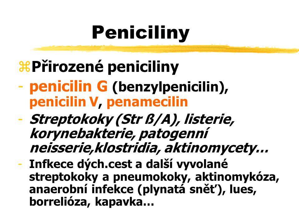 Peniciliny zPřirozené peniciliny -penicilin G (benzylpenicilin), penicilin V, penamecilin -Streptokoky (Str ß/A), listerie, korynebakterie, patogenní neisserie,klostridia, aktinomycety… -Infkece dých.cest a další vyvolané streptokoky a pneumokoky, aktinomykóza, anaerobní infekce (plynatá sněť), lues, borrelióza, kapavka…