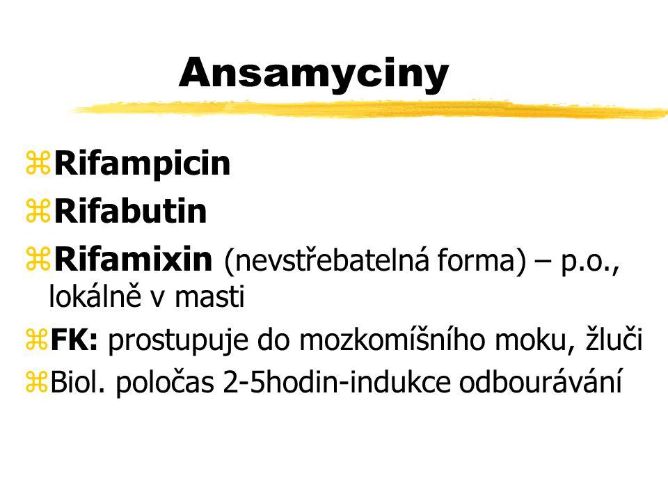 Ansamyciny zRifampicin zRifabutin zRifamixin (nevstřebatelná forma) – p.o., lokálně v masti zFK: prostupuje do mozkomíšního moku, žluči zBiol.