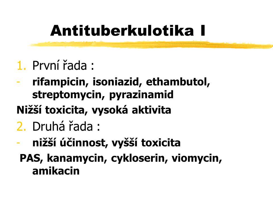 Antituberkulotika I 1.První řada : -rifampicin, isoniazid, ethambutol, streptomycin, pyrazinamid Nižší toxicita, vysoká aktivita 2.Druhá řada : -nižší účinnost, vyšší toxicita PAS, kanamycin, cykloserin, viomycin, amikacin