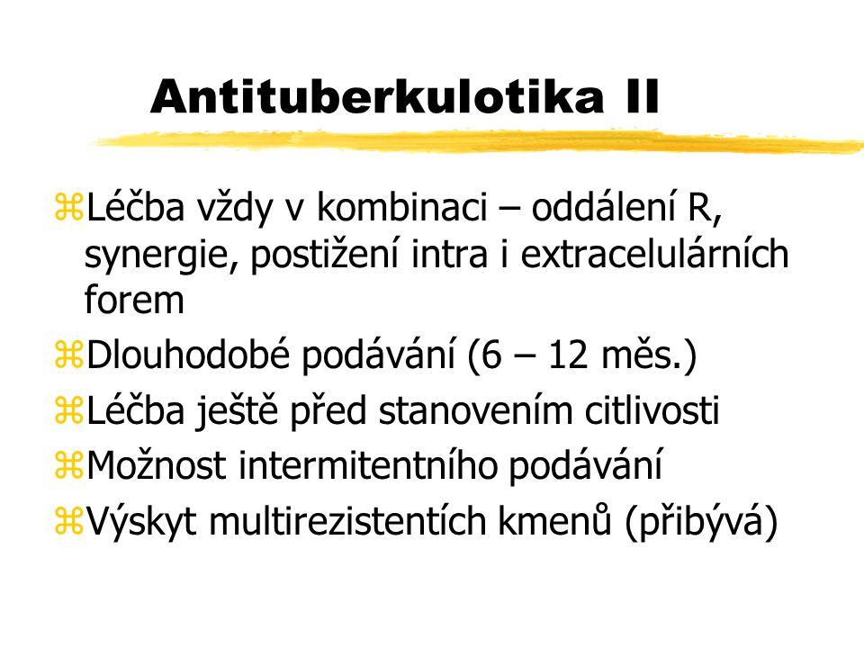 Antituberkulotika II zLéčba vždy v kombinaci – oddálení R, synergie, postižení intra i extracelulárních forem zDlouhodobé podávání (6 – 12 měs.) zLéčba ještě před stanovením citlivosti zMožnost intermitentního podávání zVýskyt multirezistentích kmenů (přibývá)
