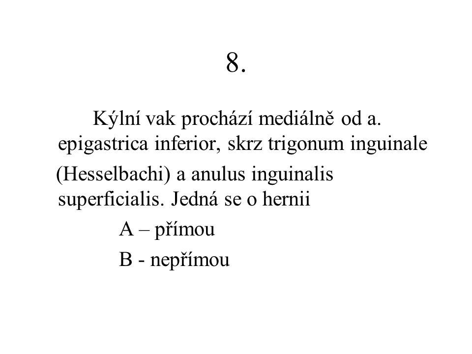 8. Kýlní vak prochází mediálně od a. epigastrica inferior, skrz trigonum inguinale (Hesselbachi) a anulus inguinalis superficialis. Jedná se o hernii