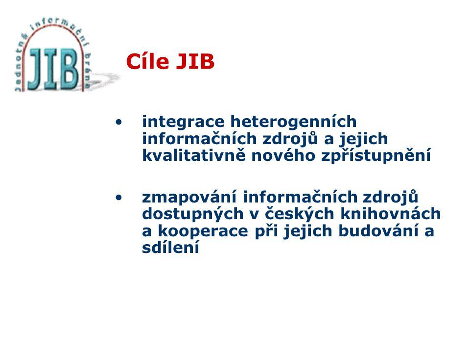 Cíle JIB integrace heterogenních informačních zdrojů a jejich kvalitativně nového zpřístupnění zmapování informačních zdrojů dostupných v českých knihovnách a kooperace při jejich budování a sdílení