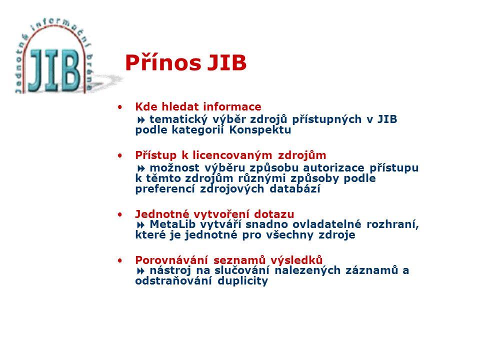 Přínos JIB Kde hledat informace  tematický výběr zdrojů přístupných v JIB podle kategorií Konspektu Přístup k licencovaným zdrojům  možnost výběru způsobu autorizace přístupu k těmto zdrojům různými způsoby podle preferencí zdrojových databází Jednotné vytvoření dotazu  MetaLib vytváří snadno ovladatelné rozhraní, které je jednotné pro všechny zdroje Porovnávání seznamů výsledků  nástroj na slučování nalezených záznamů a odstraňování duplicity