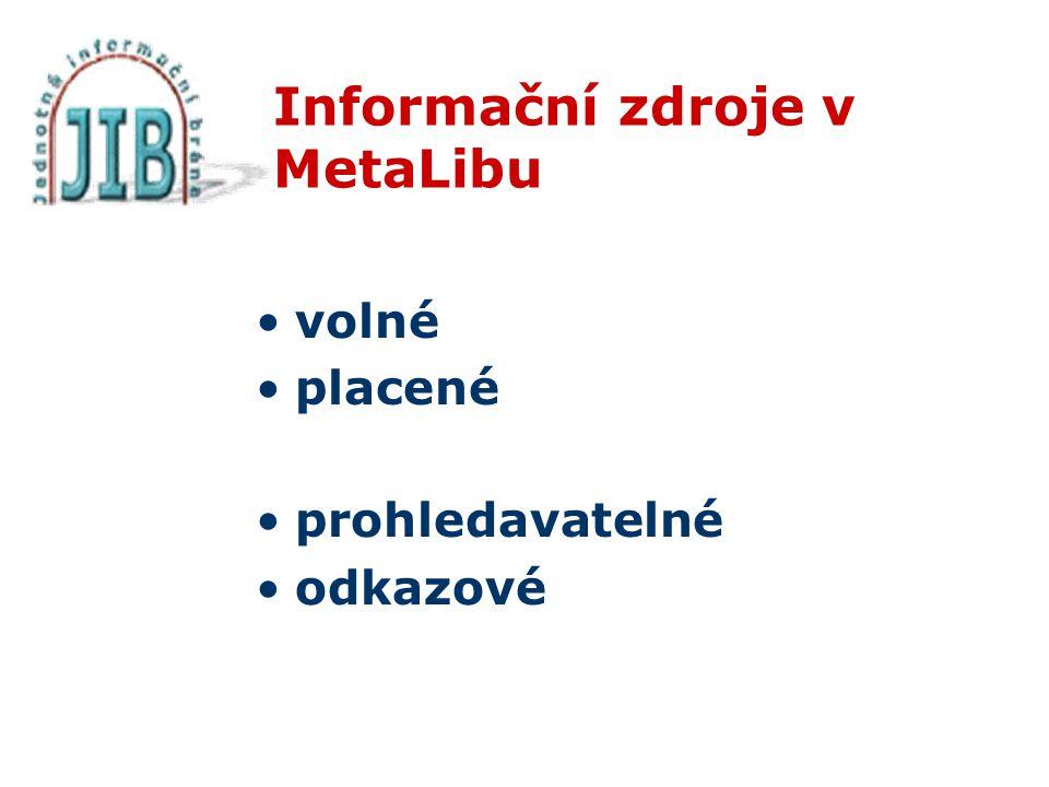 Informační zdroje v MetaLibu volné placené prohledavatelné odkazové