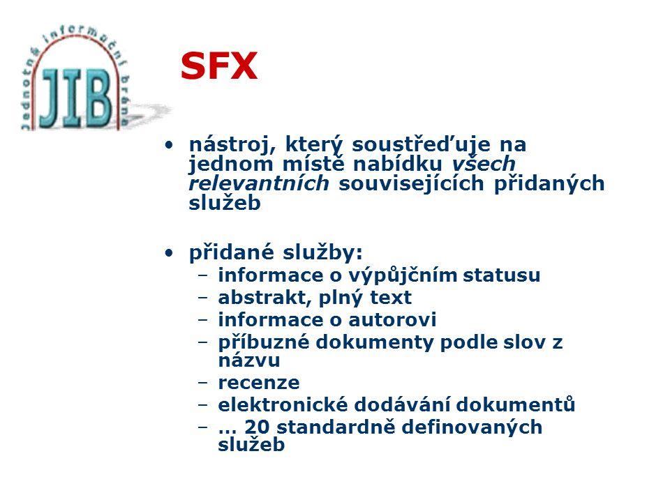 SFX nástroj, který soustřeďuje na jednom místě nabídku všech relevantních souvisejících přidaných služeb přidané služby: –informace o výpůjčním statusu –abstrakt, plný text –informace o autorovi –příbuzné dokumenty podle slov z názvu –recenze –elektronické dodávání dokumentů –… 20 standardně definovaných služeb