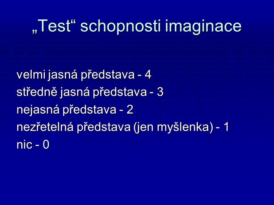 """""""Test schopnosti imaginace velmi jasná představa - 4 středně jasná představa - 3 nejasná představa - 2 nezřetelná představa (jen myšlenka) - 1 nic - 0"""