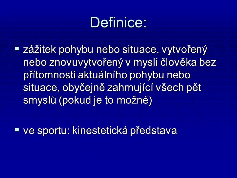 Definice:  zážitek pohybu nebo situace, vytvořený nebo znovuvytvořený v mysli člověka bez přítomnosti aktuálního pohybu nebo situace, obyčejně zahrnující všech pět smyslů (pokud je to možné)  ve sportu: kinestetická představa