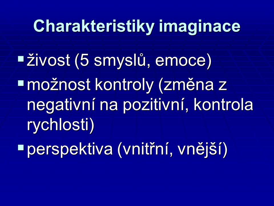 Charakteristiky imaginace  živost (5 smyslů, emoce)  možnost kontroly (změna z negativní na pozitivní, kontrola rychlosti)  perspektiva (vnitřní, vnější)