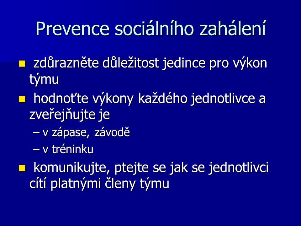 Prevence sociálního zahálení zdůrazněte důležitost jedince pro výkon týmu zdůrazněte důležitost jedince pro výkon týmu hodnoťte výkony každého jednotl