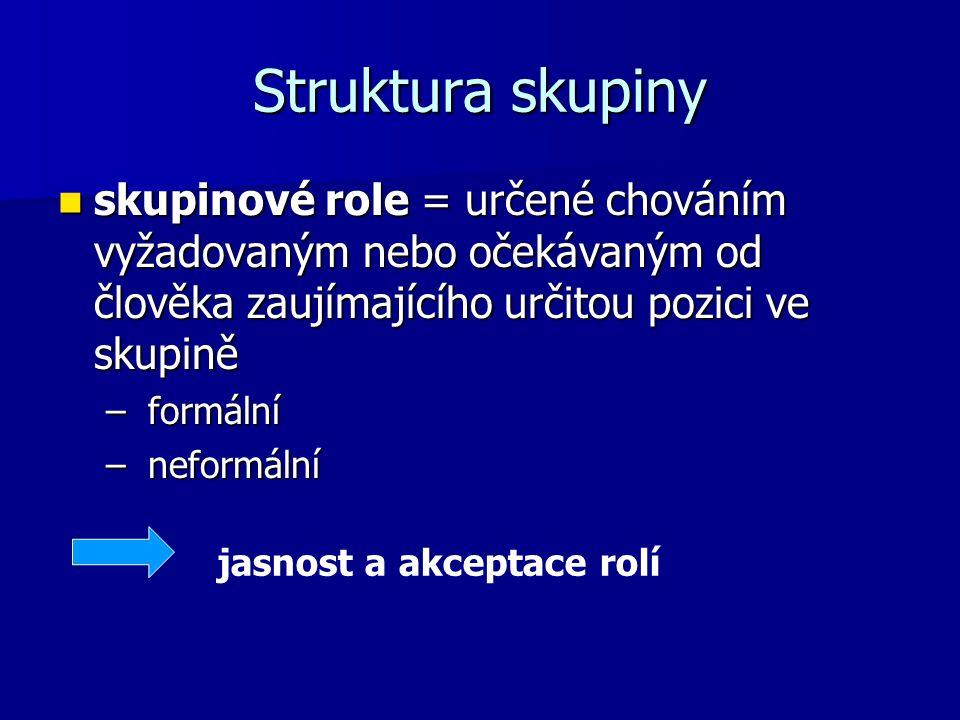 Struktura skupiny skupinové role = určené chováním vyžadovaným nebo očekávaným od člověka zaujímajícího určitou pozici ve skupině skupinové role = urč