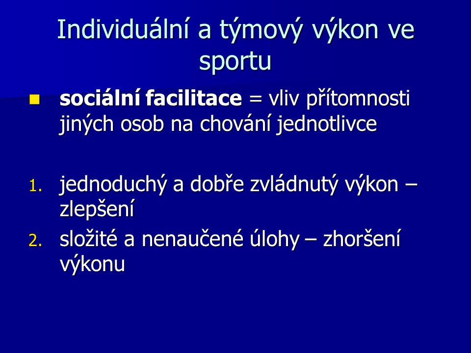 Individuální a týmový výkon ve sportu sociální facilitace = vliv přítomnosti jiných osob na chování jednotlivce sociální facilitace = vliv přítomnosti