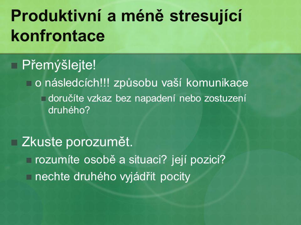 Produktivní a méně stresující konfrontace Přemýšlejte! o následcích!!! způsobu vaší komunikace doručíte vzkaz bez napadení nebo zostuzení druhého? Zku