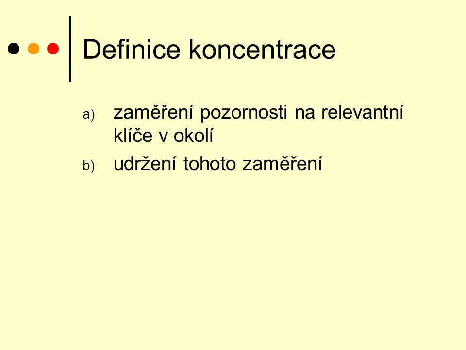 Definice koncentrace a) zaměření pozornosti na relevantní klíče v okolí b) udržení tohoto zaměření