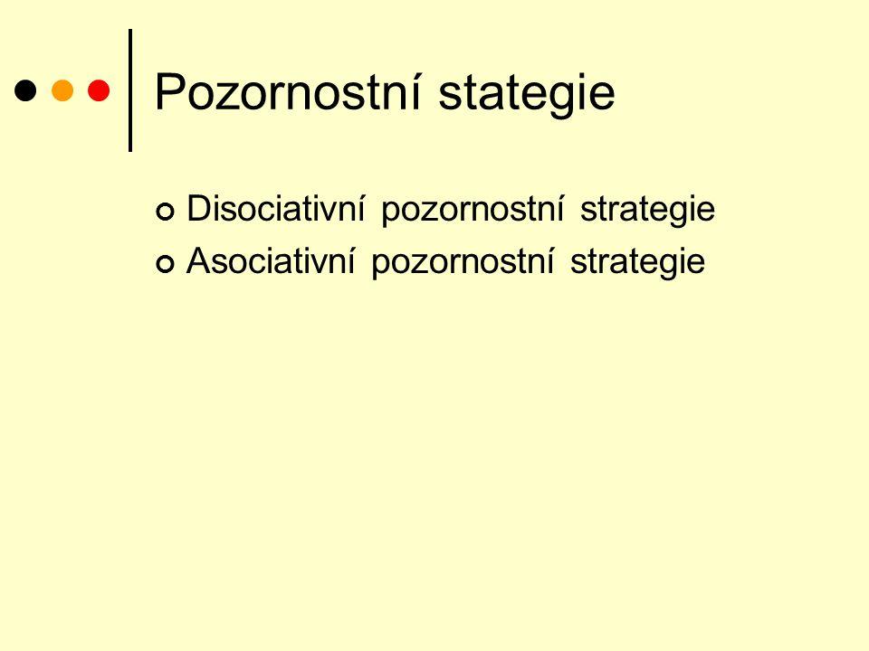 Pozornostní stategie Disociativní pozornostní strategie Asociativní pozornostní strategie