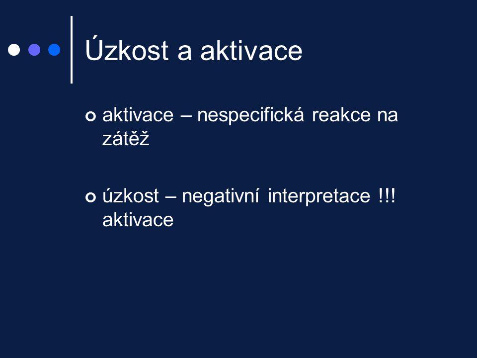 Úzkost a aktivace aktivace – nespecifická reakce na zátěž úzkost – negativní interpretace !!! aktivace