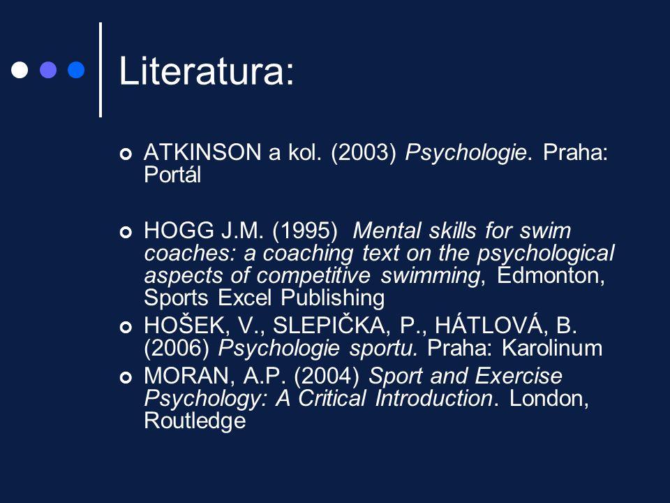 Literatura: HANIN, YL.(Ed) Emotions in Sport. Leeds: Human Kinetics, 2000 SLEPIČKA, P.