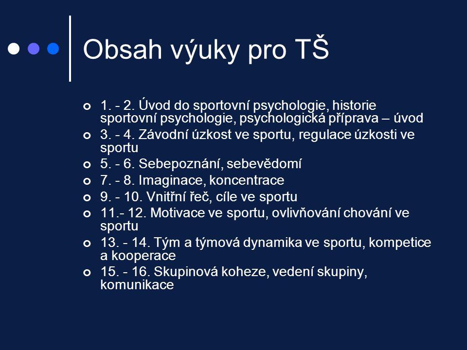 Obsah výuky pro TŠ 1. - 2. Úvod do sportovní psychologie, historie sportovní psychologie, psychologická příprava – úvod 3. - 4. Závodní úzkost ve spor