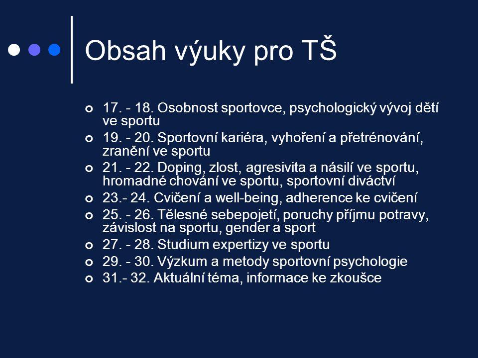 Příklady uplatnění poznatků sportovní psychologie v praxi Percepční trénink ve fotbale Mozartův efekt Souvislost chování hráče po vstřelení gólu s týmovou kohezí = výkonem týmu …