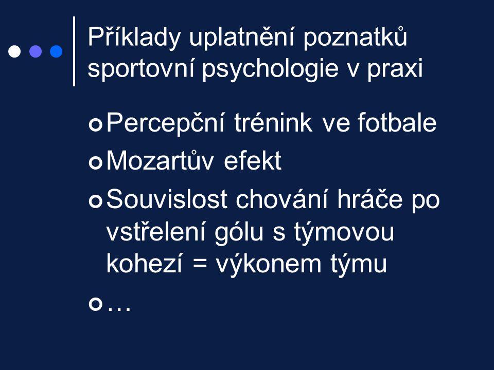 Příklady uplatnění poznatků sportovní psychologie v praxi Percepční trénink ve fotbale Mozartův efekt Souvislost chování hráče po vstřelení gólu s tým