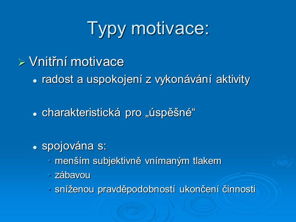 Typy motivace:  Vnější motivace dělám to kvůli vnějším podnětům, trestům, odměnám… dělám to kvůli vnějším podnětům, trestům, odměnám… spojována s: spojována s: zvýšenou úzkostízvýšenou úzkostí zvýšenou pravděpodobností ukončení kariéryzvýšenou pravděpodobností ukončení kariéry