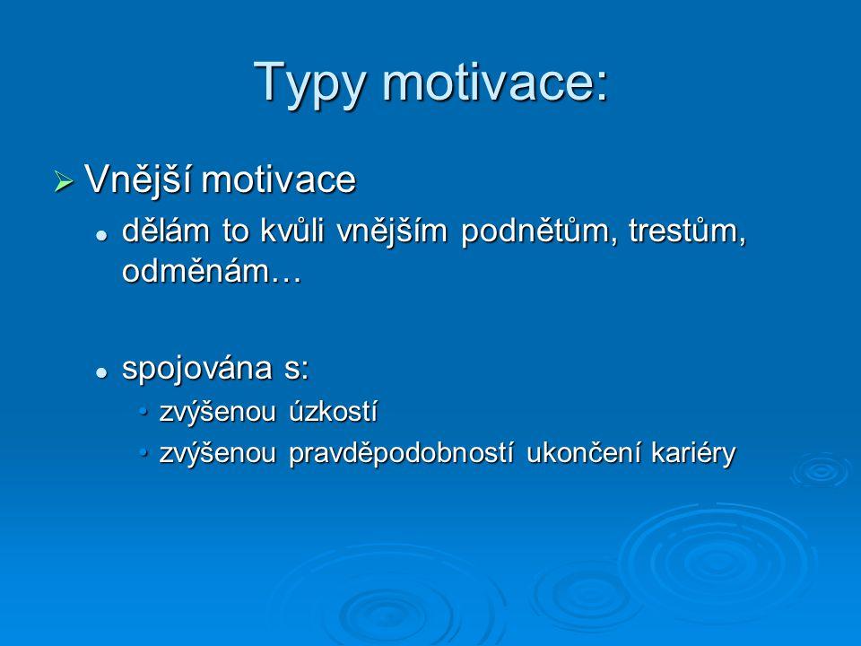 Typy motivace:  Vnější motivace dělám to kvůli vnějším podnětům, trestům, odměnám… dělám to kvůli vnějším podnětům, trestům, odměnám… spojována s: sp