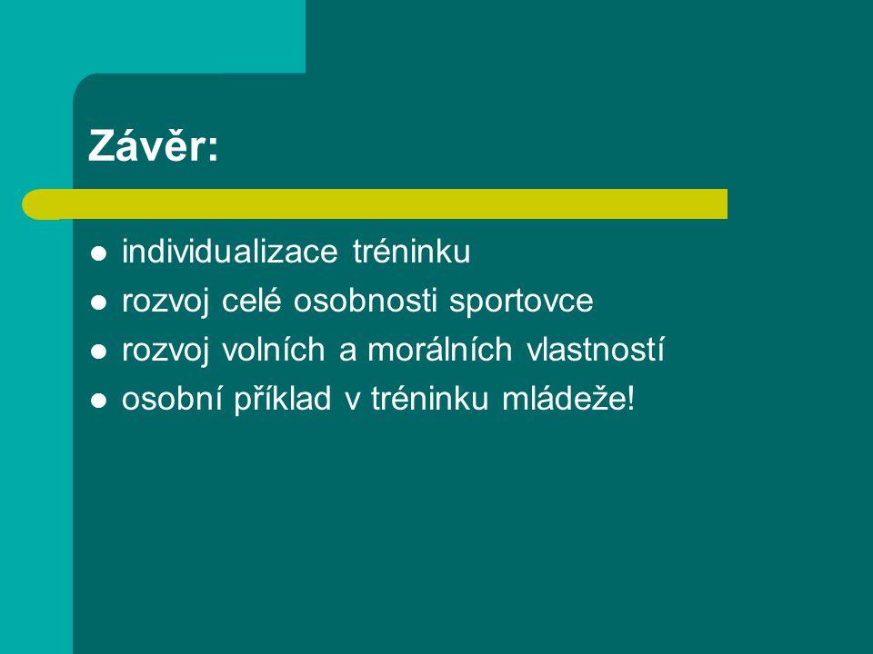Závěr: individualizace tréninku rozvoj celé osobnosti sportovce rozvoj volních a morálních vlastností osobní příklad v tréninku mládeže!