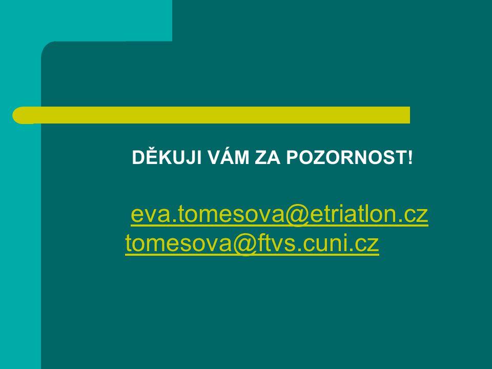 DĚKUJI VÁM ZA POZORNOST! eva.tomesova@etriatlon.czeva.tomesova@etriatlon.cz tomesova@ftvs.cuni.cz