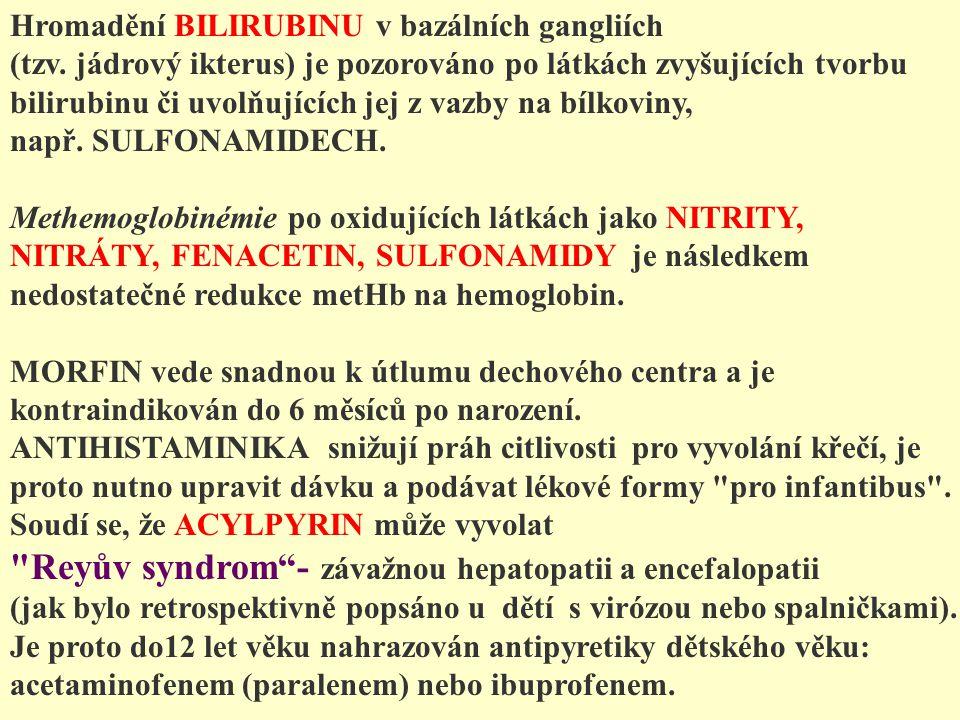 Hromadění BILIRUBINU v bazálních gangliích (tzv. jádrový ikterus) je pozorováno po látkách zvyšujících tvorbu bilirubinu či uvolňujících jej z vazby n