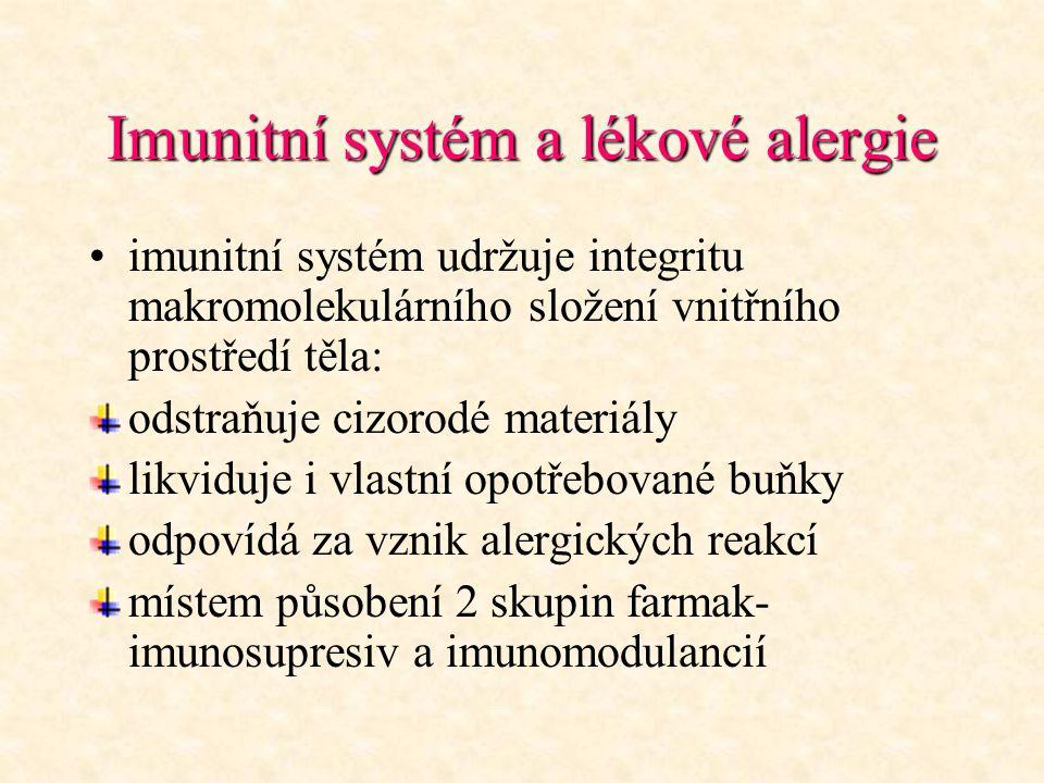 Imunitní systém a lékové alergie imunitní systém udržuje integritu makromolekulárního složení vnitřního prostředí těla: odstraňuje cizorodé materiály