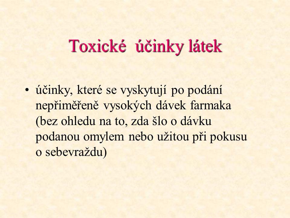 Toxické účinky látek účinky, které se vyskytují po podání nepřiměřeně vysokých dávek farmaka (bez ohledu na to, zda šlo o dávku podanou omylem nebo už