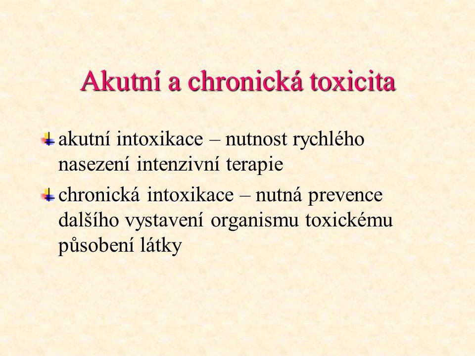 Akutní a chronická toxicita akutní intoxikace akutní intoxikace – nutnost rychlého nasezení intenzivní terapie chronická intoxikace chronická intoxika