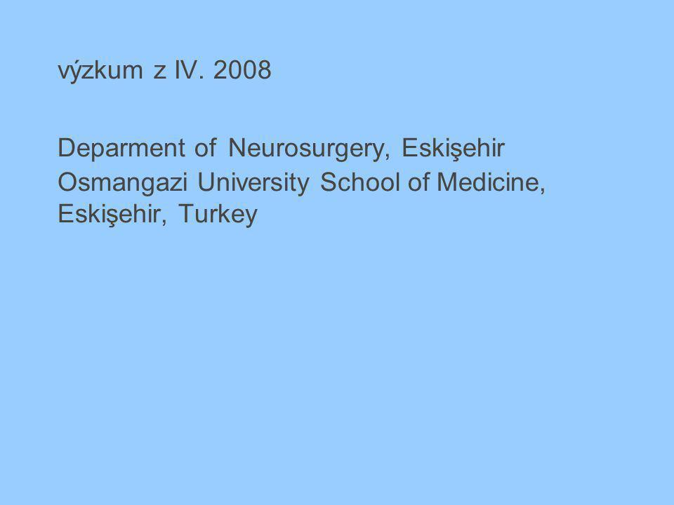 výzkum z IV. 2008 Deparment of Neurosurgery, Eskişehir Osmangazi University School of Medicine, Eskişehir, Turkey